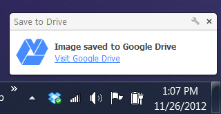 save to Google Drive message