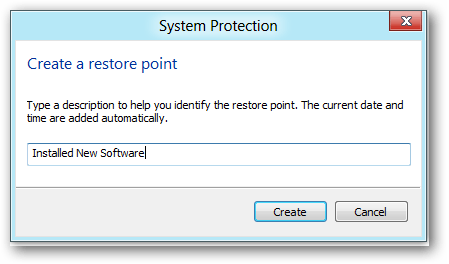 windows 8 create restore point details