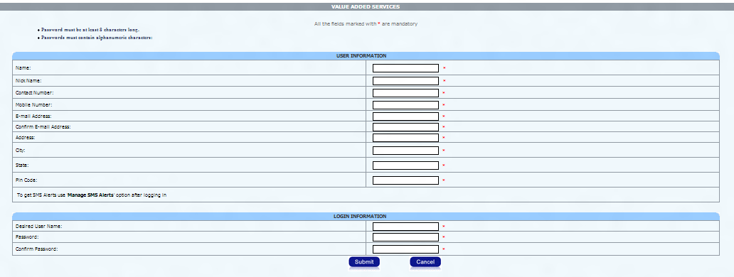 bsnl online payment registration page