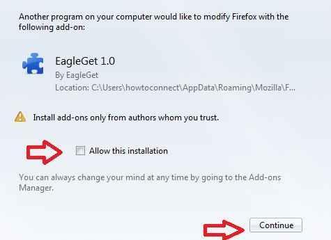 eagleget downloader addons on firefox