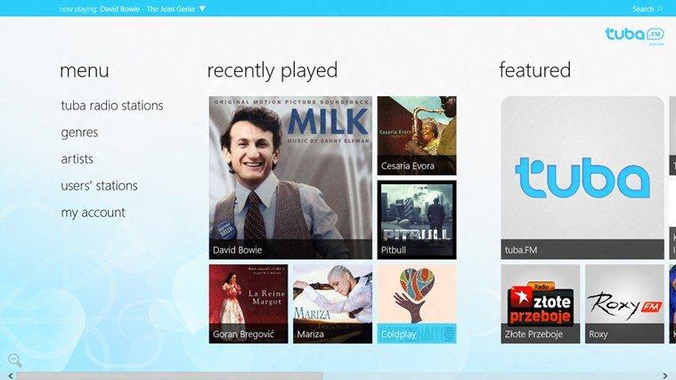 windows 8 tuba.fm app page image