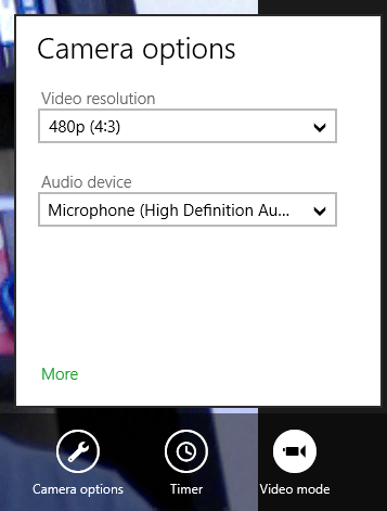 windows 8 camera app options