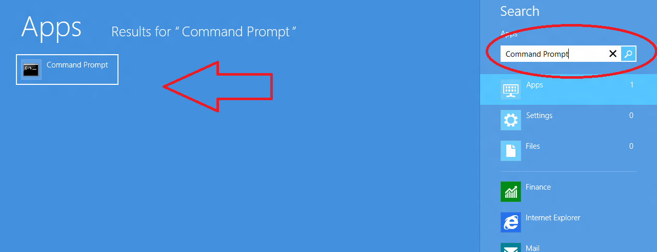 windows 8 command prompt search