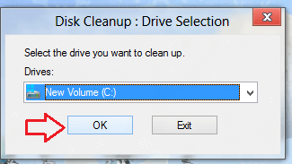 windows 8 disk cleanup - drive selection