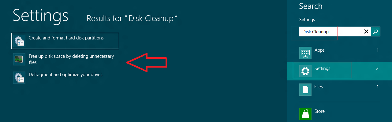windows 8 disk cleanup tool search