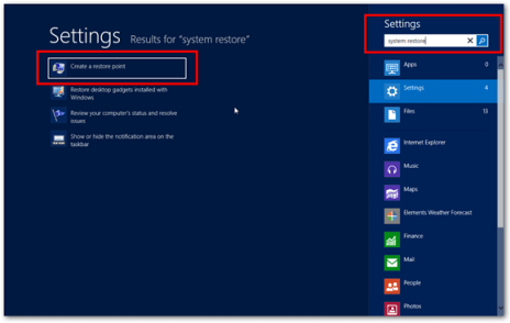 windows 8 system restore search