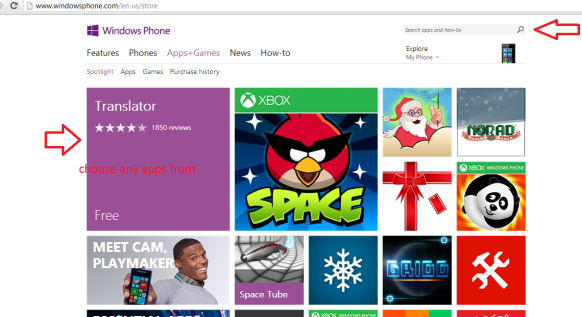 windows phone store main page