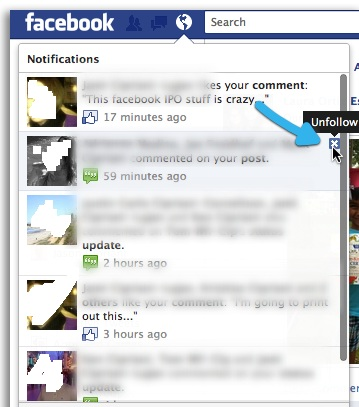 How to unfollow Facebook post from the notification box