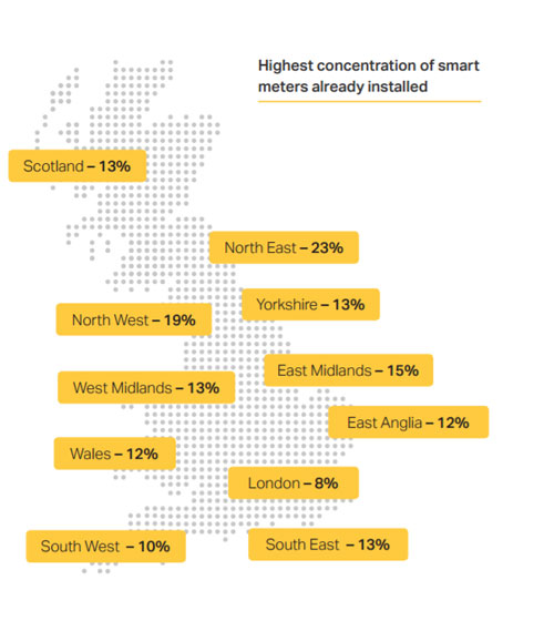 A map shows where the smart meters have been installed so far.