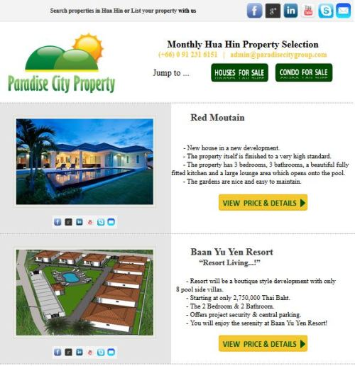 April Newsletter for Hua Hin Property and Hua Hin Real Estate