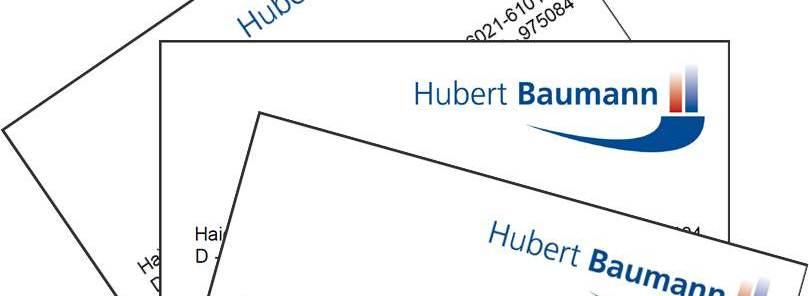 Visitenkarte Hubert Baumann, Unternehmensberatung, Haibach / Aschaffenburg, Wien