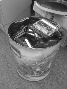 Bucket of cassette tapes