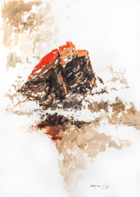 Pointe du Percho. Encre noire, brou de noix et encre acrylique rouge sur papier.