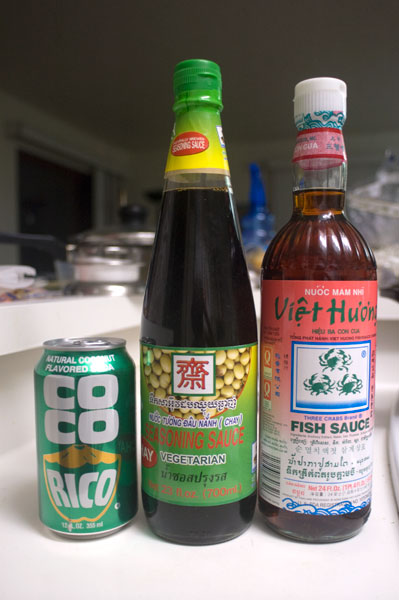 coconut soda, soy sauce, and fish sauce