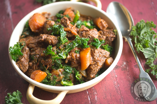 Braised Beef Stew with Carrots, Parsnips & Kale