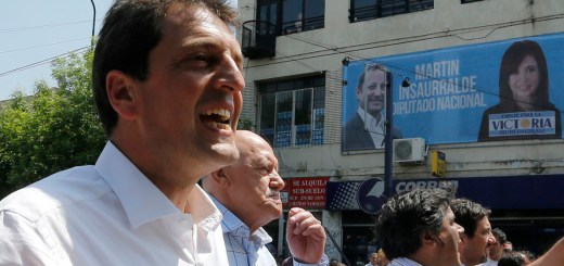 Massa, mayor of Buenos Aires' Tigre district and candidate for congress in the upcoming October 27 midterm elections, reacts during a campaign rally in Hurlingham