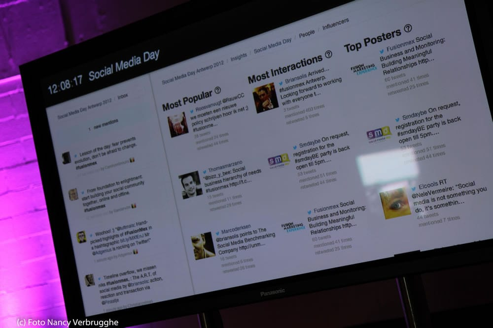 Social buzz tracked by Engagor at the Social Business Sessions by i-SCOOP – picture Nancy Verbrugghe