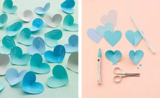 Карточки в виде сердечек для рассадки гостей своими руками