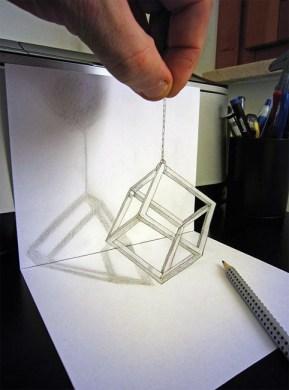 Современное искусство – трехмерные иллюзии на бумаге простым карандашом от Alessandro Diddi