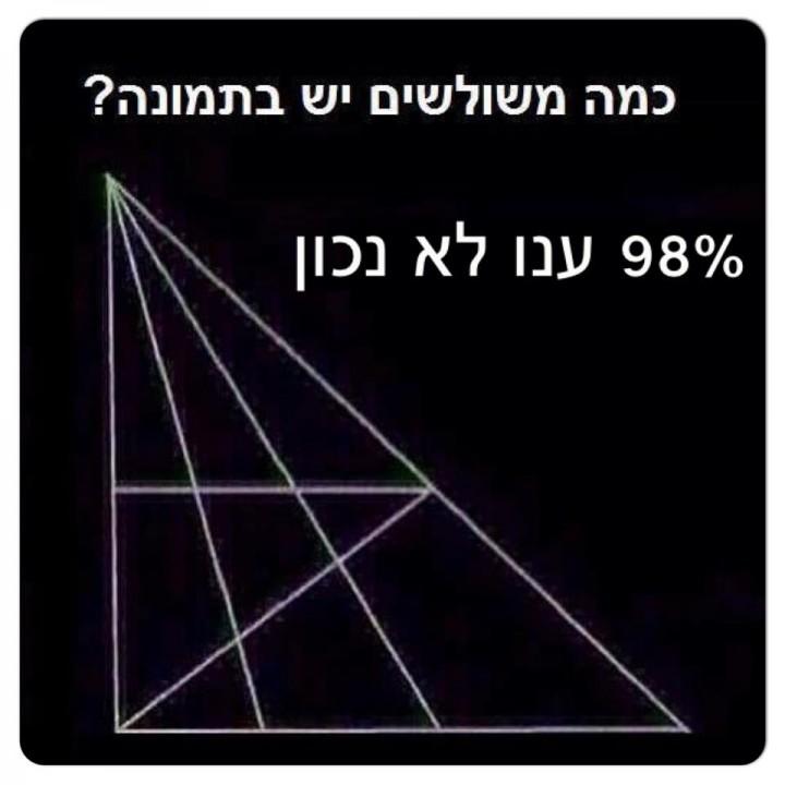 כמה משולשים יש בתמונה? 98% מהאנשים ענו לא נכון!
