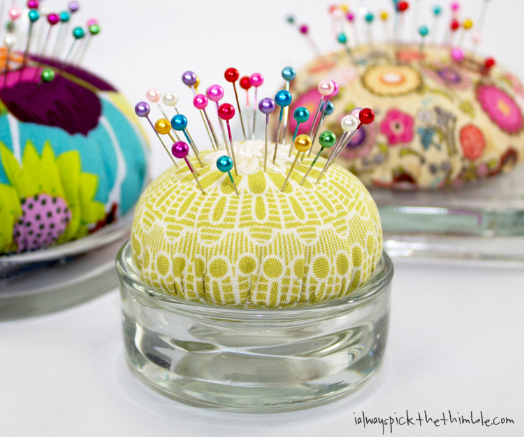 candle plate pincushions