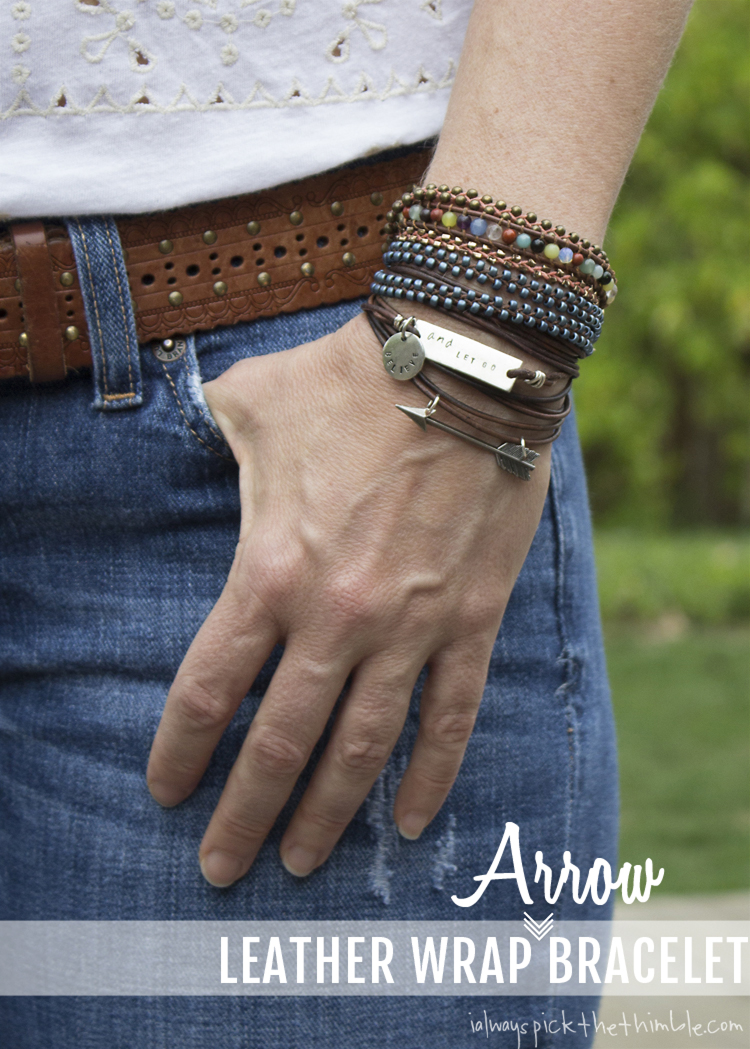 leather wrapped arrow bracelet - cute outdoors