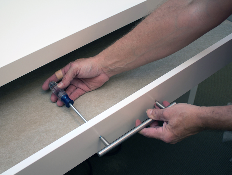 make up vanity adding a drawer pull