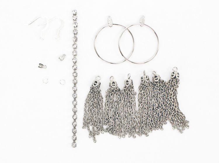 tassels and rhinestones materials for earrings