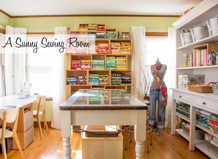 A sunny sewing room and folding fabrics to size - Small space sewing area style ...