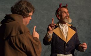 Thomas Heppler as Dr. Faustus with Nathan Lindholm as Martin Luther