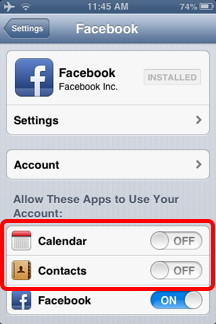 Disable Facebook Contacts