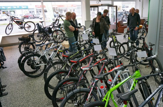 "At Sölvi's electric bike shop ""Rafhjól"" in Reykjavík (SB)"