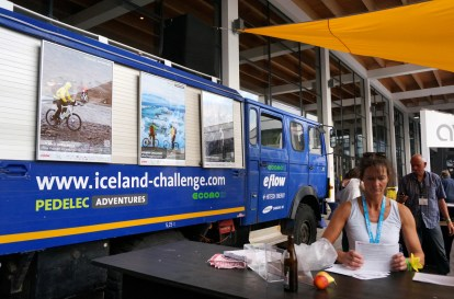 The Iceland Challenge support truck caught attention at the e-bike test track organized by ecomo21 (SB)