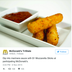 Small Crop Of Mcdonalds Mozzarella Sticks