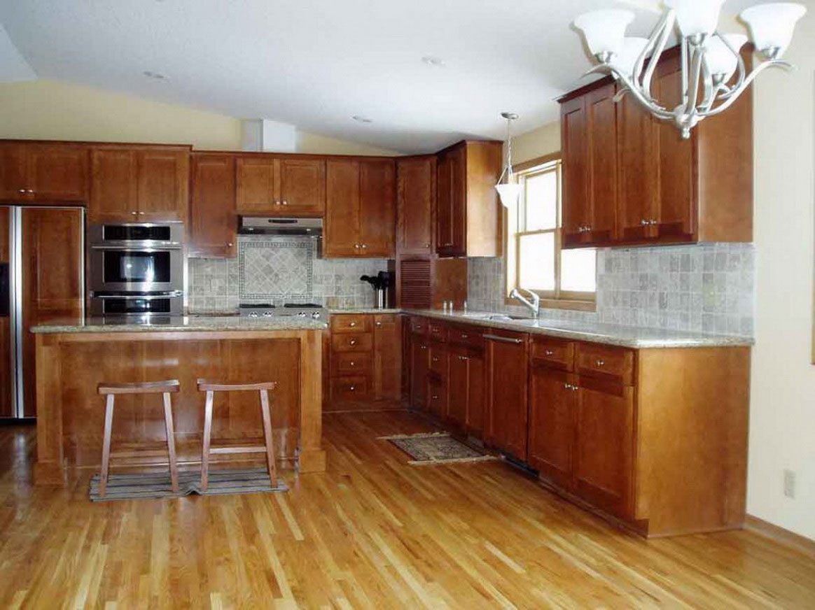 bamboocork wood floor in kitchen