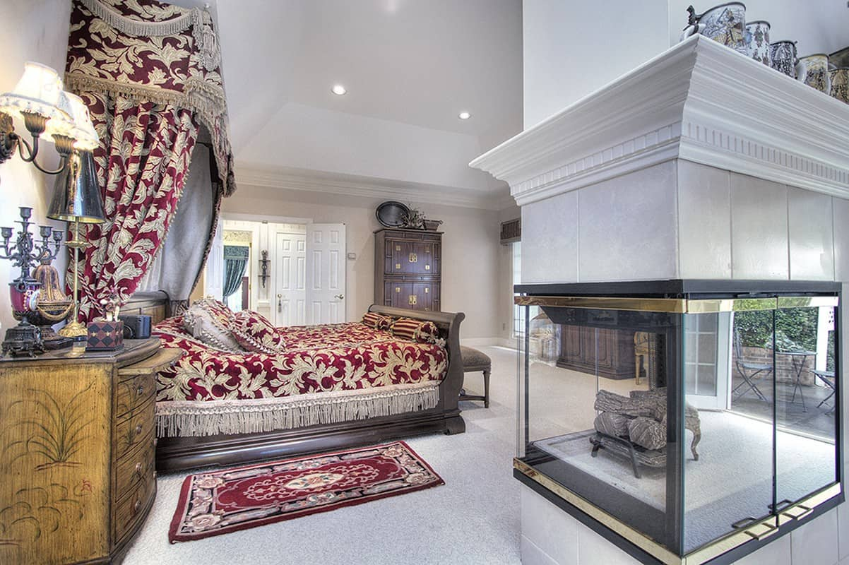 Luxury master suite with fireplace in Wesley Chapel Home for Sale