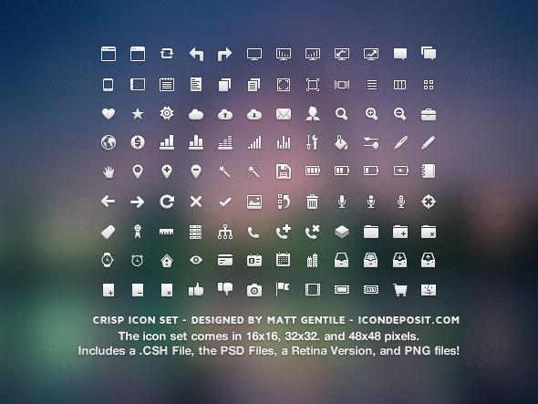 Crisp Icon Set Preview ID 10 Free Icon Packs for UI & Design Usage