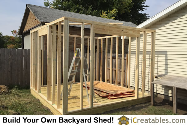 S Shed With Garage Door Wall Framing