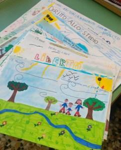"""""""I diritti dei bambini"""" visti da alcuni alunni della Muratori. I disegni saranno consegnati alle autorità presenti perché tali diritti siano sempre presenti nel loro operato di amministratori"""