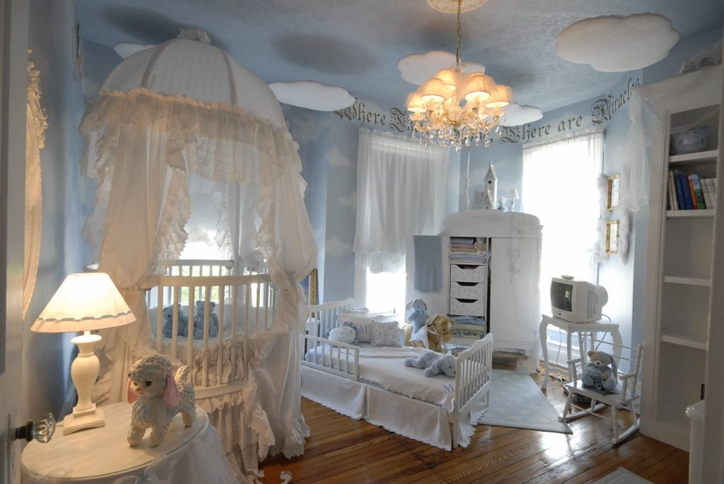 luxurious white baby girls rooms with gorgeous canopy crib and kid bed upscale furniture