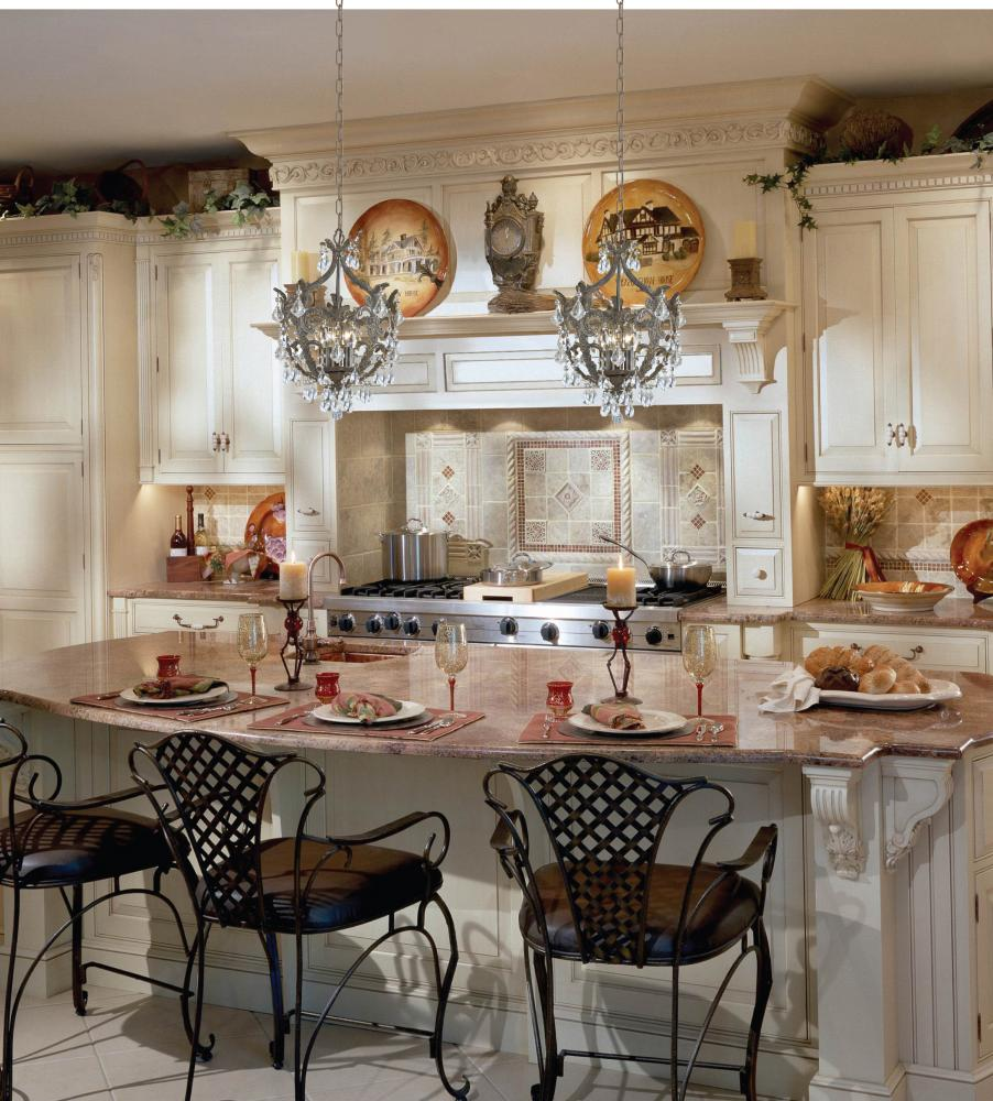 Winsome Small Crystal Chandelier Designs for Kitchen Room with Neat Brown Arm Chairs