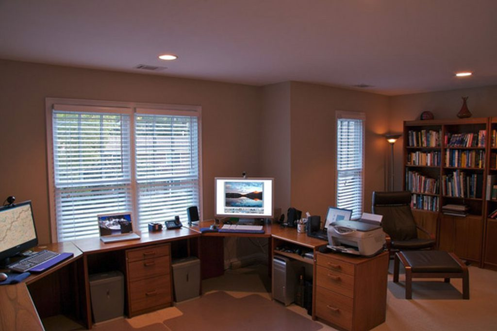 Comfy Chair In Spacious Home Office Decorating With Teak Computer Tables And Oak File Cabinets