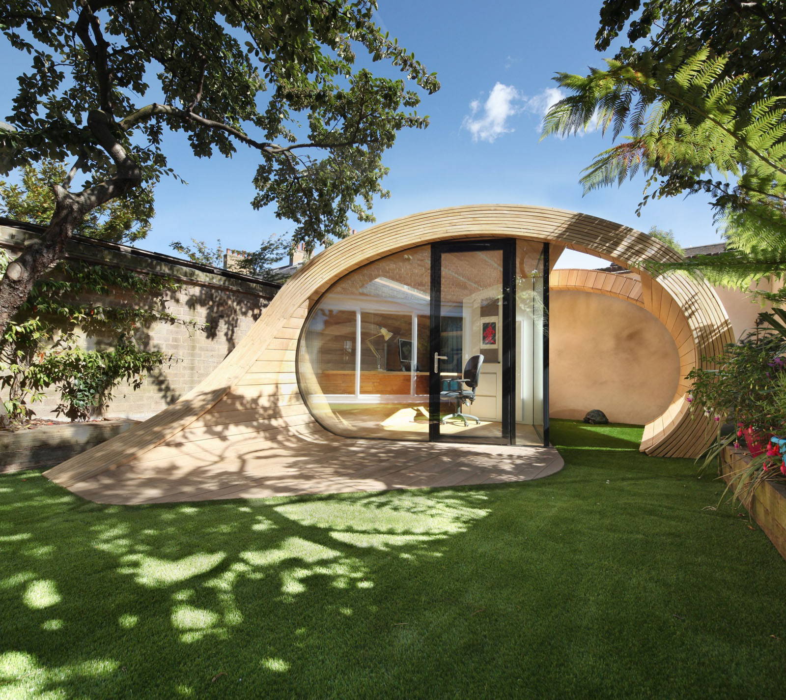 prefab home office shed in the garden e