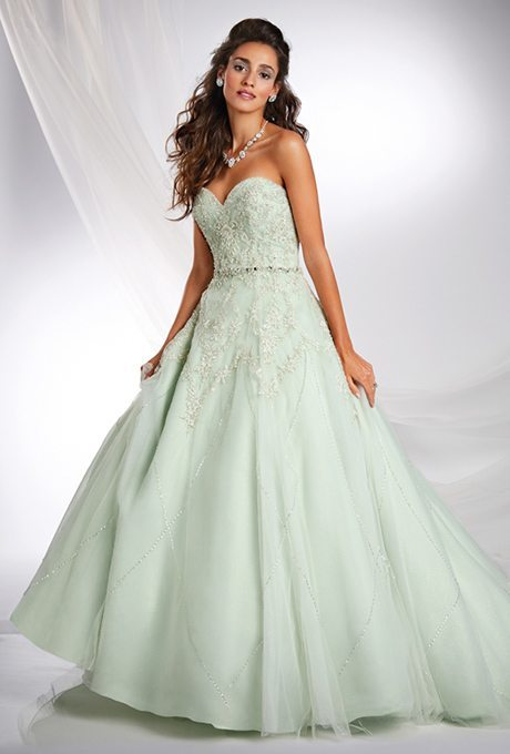"Here's a mint green beauty perfect for princess brides that was a quick spin on the ""norm."""