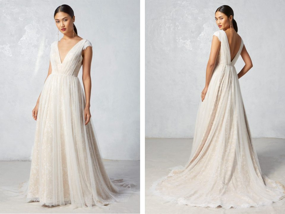 Delicate and soft, we're loving how easy and flowing this layered, light ball gown is.