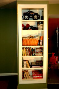built in bookcase with white trim