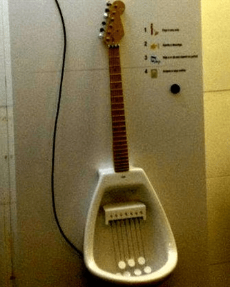 bathroom remodel - guitar urinal