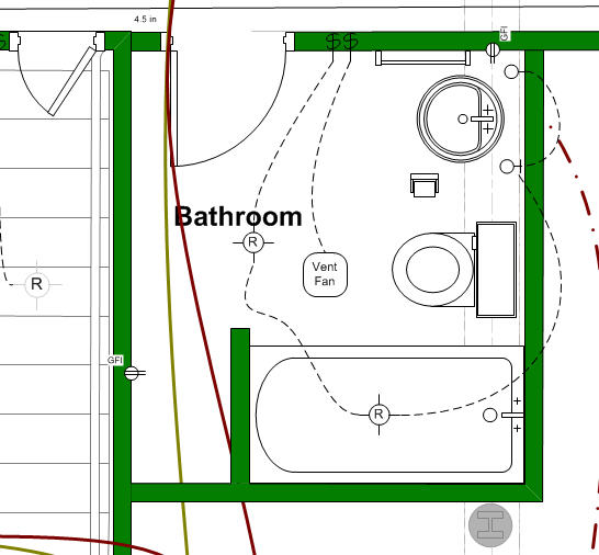 floor plan bathroom design with wiring and tub, sink, toilet
