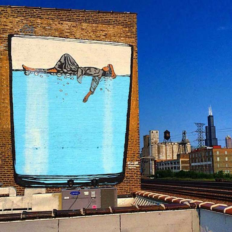 the 37 street artist designed bottles and 5 wall murals chicago business district birds eye view 1898 wall map mural