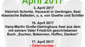 Montagslesungen im April und Veranstaltungstipps